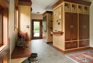 Contemporary Mud Room with Stone source, chromtech 1.0, porcelain tile, beige/taupe, Built-in bookshelf, French doors