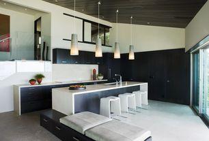 Contemporary Kitchen with Bilboa Fishtail Pendant, Quartz countertop, Paint, Concrete floors, Paint 2