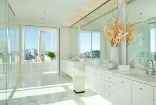 Contemporary Master Bathroom with Double sink, Window seat, European Cabinets, Inset cabinets, frameless showerdoor