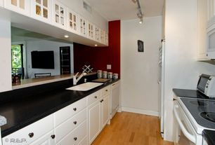 Contemporary Kitchen with Maple - russet/cinnamon 3 in. engineered hardwood plank