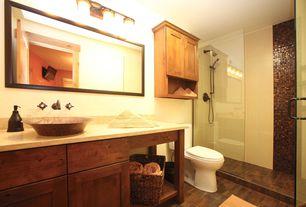 Traditional 3/4 Bathroom with Handheld showerhead, Vessel sink, partial backsplash, Shower, frameless showerdoor, Flush