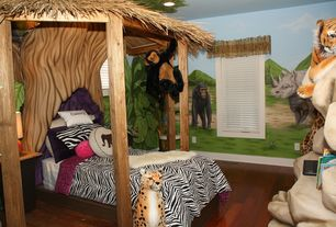 Tropical Kids Bedroom with Hardwood floors, Ikea Rens Sheepskin, Melissa & Doug Plush Cheetah, Mural