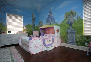 Country Kids Bedroom with Laminate floors, Custom bedroom mural, Girls carriage bed, Mural, Enchanting princess carriage bed