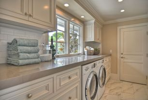 Traditional Laundry Room with Epoch architectural surfaces white 5-pack random wall tile, travertine tile floors