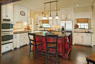 Traditional Kitchen with Kitchen island, Paint, Raised panel, Limestone Tile, Standard height, Simple granite counters