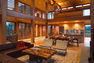 Contemporary Great Room with Exposed beam, Laminate floors, Cathedral ceiling, Loft, Columns