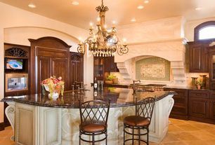 Traditional Kitchen with Glass panel, Custom hood, Limestone Tile, Stone Tile, Arched window, Framed Partial Panel