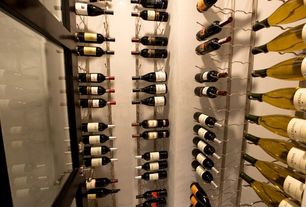 Contemporary Wine Cellar with VintageView 24-Bottle Wall Mounted Wine Rack - Nickel, Custom wine storage