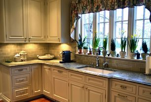 Country Kitchen with Simple granite counters, Large Ceramic Tile, MS International Virginia Mist Granite, Raised panel