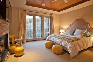 Contemporary Guest Bedroom with Carpet, Ceiling fan, French doors