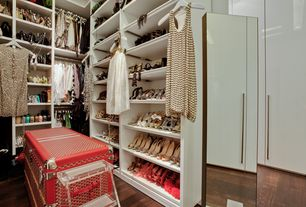 Contemporary Closet with High ceiling, Goyard Trunk, Laminate floors, Paint 1, Design Within Reach Mondrian Mirror