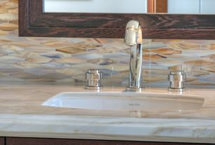Eclectic Full Bathroom with MS International Calacatta Gold Marble, Kallista Vir Stil Undermount Basin