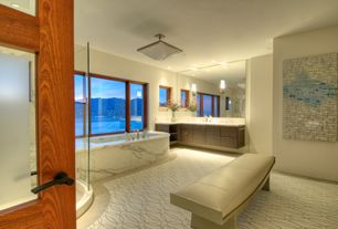 Contemporary Master Bathroom with Master bathroom, flush light, Frameless glass shower door, frameless showerdoor, Waterfront