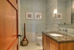 Traditional Powder Room with Wall sconce, High ceiling, Vinyl floors, Undermount sink, Complex marble counters, Powder room