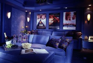 Traditional Home Theater with Wall sconce, Carpet, Trey ceiling, High ceiling, interior wallpaper, Projector