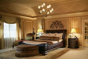 Traditional Master Bedroom with Wall frame molding, Chandelier with beige / cream glass in cartouche bronze finish, Paint 1