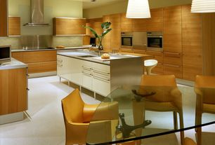 Modern Kitchen with Breakfast nook, Flush, KraftMaid Cabinetry Slab-Solid Maple Cabinet Door with Praline Stained Finish