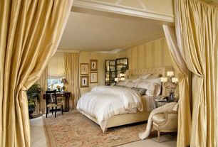 Traditional Master Bedroom with Oriental area rug, interior wallpaper, Crown molding, Carpet