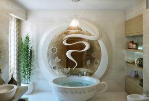Eclectic Master Bathroom with Freestanding, Master bathroom, Bidet, Pendant light, Flush, specialty door, Wood counters