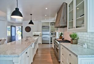 Contemporary Kitchen with Kitchen island, Glass panel, Pine flooring, Farmhouse sink, Pb classic pendant - metal bell