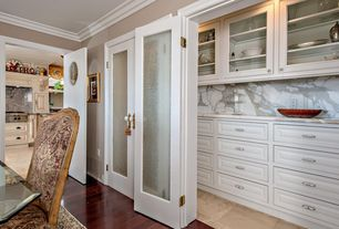 Traditional Pantry with travertine floors, High ceiling, Pental calacatta extra polished marble, Paint 1, Crown molding