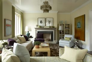 Contemporary Living Room with High ceiling, Chandelier, Crown molding, Safavieh sky blue ceramic paris lamp