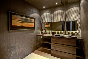 Contemporary Powder Room with Wood counters, Powder room, drop-in sink, Donghia northern muse wallpaper-  pewter, can lights