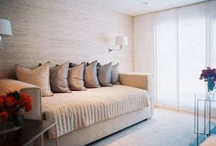 Contemporary Guest Bedroom with Wall sconce, Carpet, specialty door, Modern Functions Swing Arm Wall Sconce