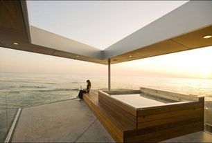 Contemporary Hot Tub with Deck Railing