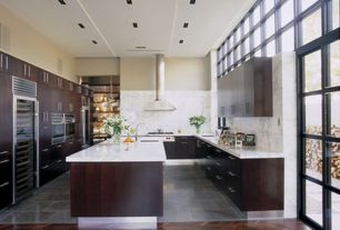 Contemporary Kitchen with Flush, Concrete tile , High ceiling, Wine cooler, Complex granite counters, Simple Granite