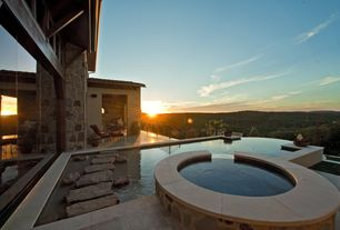 Mediterranean Hot Tub with Deck Railing, Pool with hot tub, Pathway, exterior stone floors, picture window