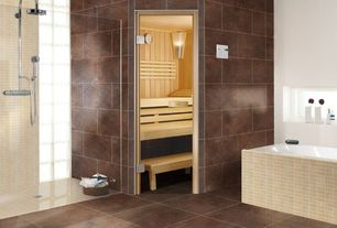 Contemporary Master Bathroom with Crema Marfil Marble Chevron Mosaic Polished Tiles (Box of 10 Sheets), Sauna