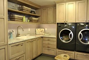 Traditional Laundry Room with Simple granite counters, Open shelving, Crown molding, Built-in bookshelf, Carpet