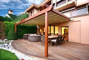 Contemporary Patio with exterior awning