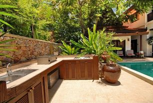 Tropical Patio with Outdoor kitchen, Lap pool