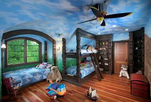 Eclectic Kids Bedroom with Built in bed, Rockabye Bi-Plane Airplane Rocker, Ceiling fan, My World Fly Away Quilt Set