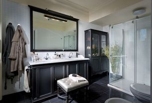 Traditional Master Bathroom with wall-mounted above mirror bathroom light, Concrete tile , Simple marble counters, Full Bath