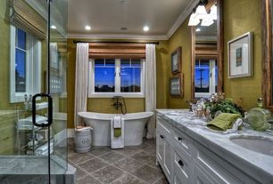 Traditional Master Bathroom with Flush, Complex marble counters, Flat panel cabinets, Complex Marble, Freestanding
