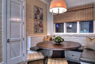 Traditional Kitchen with Dot and bo, Wallpaper, Round pedestal rustic table, , Painted brick wall
