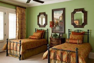 Traditional Guest Bedroom with Bellacor Howard Elliott Collection Orion French Brown Octagonal Mirror, Crown molding, Carpet