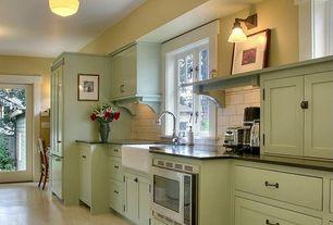 Cottage Kitchen with Bosch Built in Microwave, Rejuvenation Jefferson school house fixture, High ceiling, Farmhouse sink