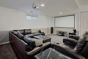 Traditional Home Theater with Chair rail, Carpet