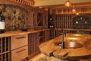 Craftsman Wine Cellar with Live edge wood countertop