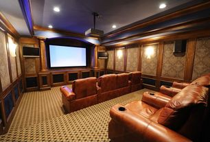 Traditional Home Theater with Wall sconce, High ceiling, Carpet, Crown molding