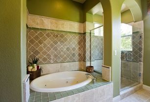"Mediterranean Master Bathroom with Emser Tile Mystique 4"" x 4"" Glass Field Tile in Piatte, frameless showerdoor, Jetted"