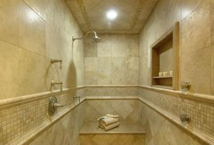 Traditional Master Bathroom with Daltile windrift beige resin chair rail 2 x 12 bc02, Daltile windrift beige bc02 mosaic