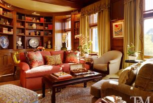 Traditional Living Room with Draperies, Asian Style Coffee Table, Curved bookcase, Ming Style Rectangular Coffee Table