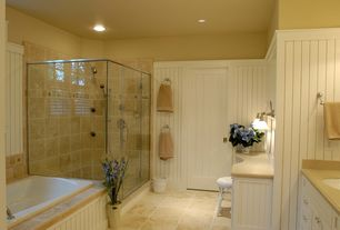 Cottage Master Bathroom with Emser bristol ashton ceramic, Design Classics Lighting Single Light Sconce, Paint 1