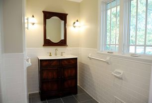 Traditional Powder Room with Daltile city view in seaside boardwalk, Flat panel cabinets, Corian counters, Subway Tile