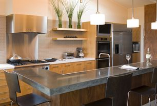 Contemporary Kitchen with Polished stainless-steel backsplash, U-shaped, Paint, double wall oven, European Cabinets, Flush